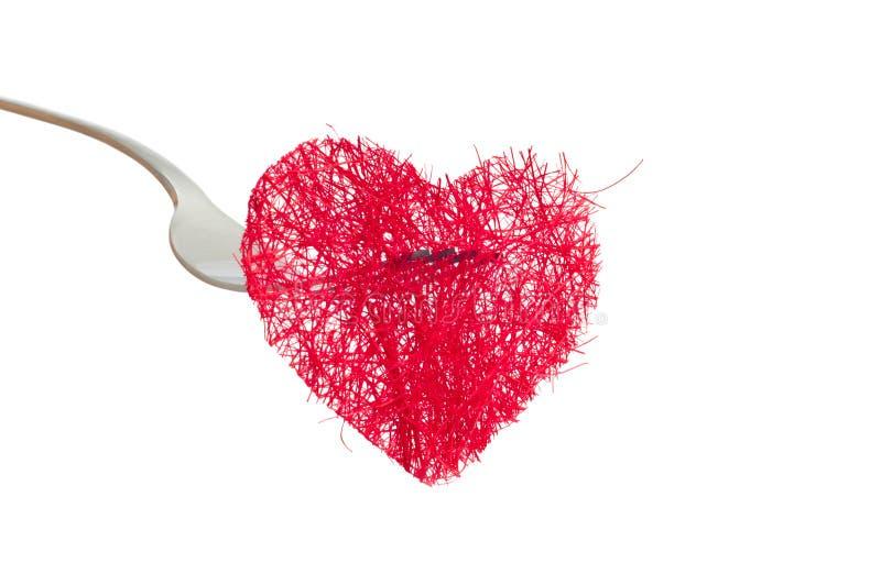 Coeur rouge ficelé images stock