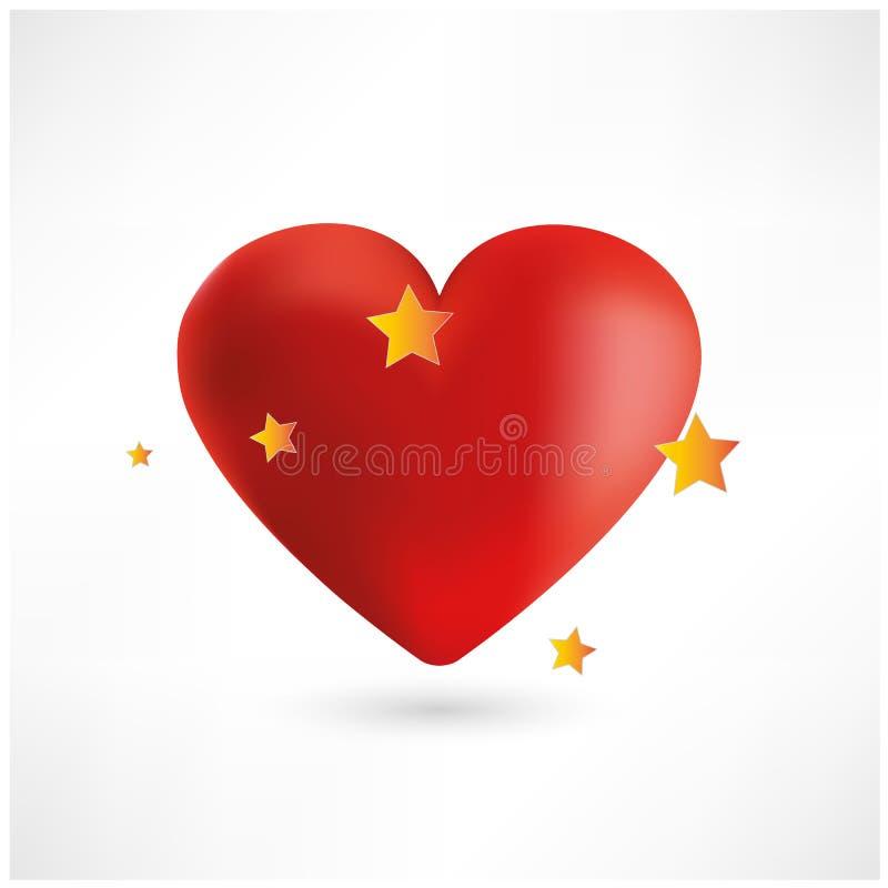 Coeur rouge lumineux avec des étoiles, fond blanc image libre de droits