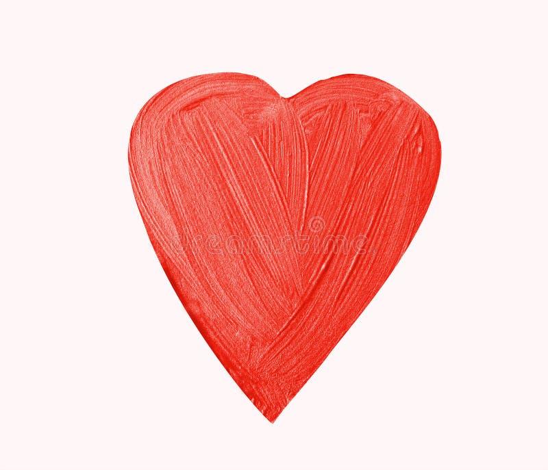 Coeur rouge peint avec des couleurs de scintillement Rappe de balai Watercol images stock