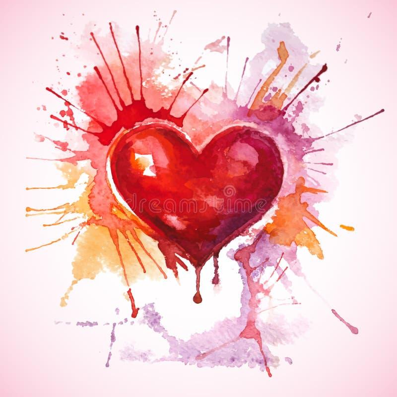 Coeur rouge peint tiré par la main d'aquarelle illustration de vecteur