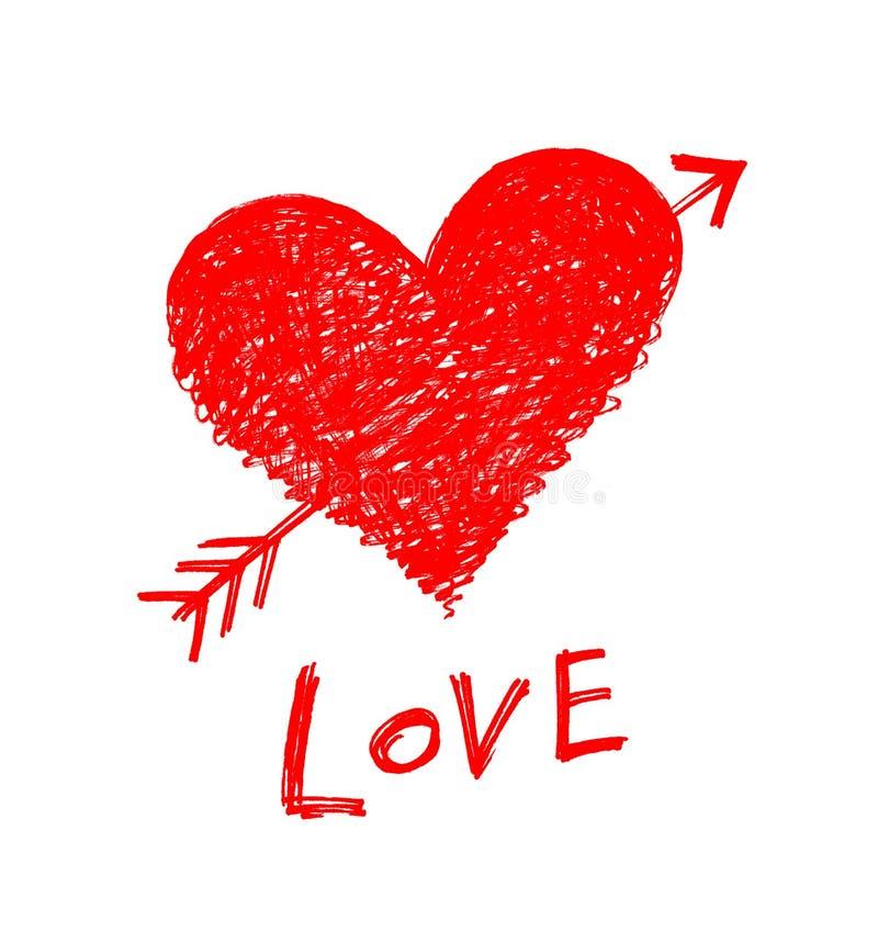coeur rouge perc par une fl che avec le mot illustration stock illustration du freehand. Black Bedroom Furniture Sets. Home Design Ideas