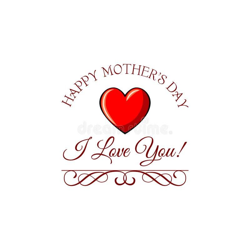 Coeur rouge pour le jour de la mère s de carte de voeux Aimez-vous texte et souhaits Illustration de vecteur illustration de vecteur
