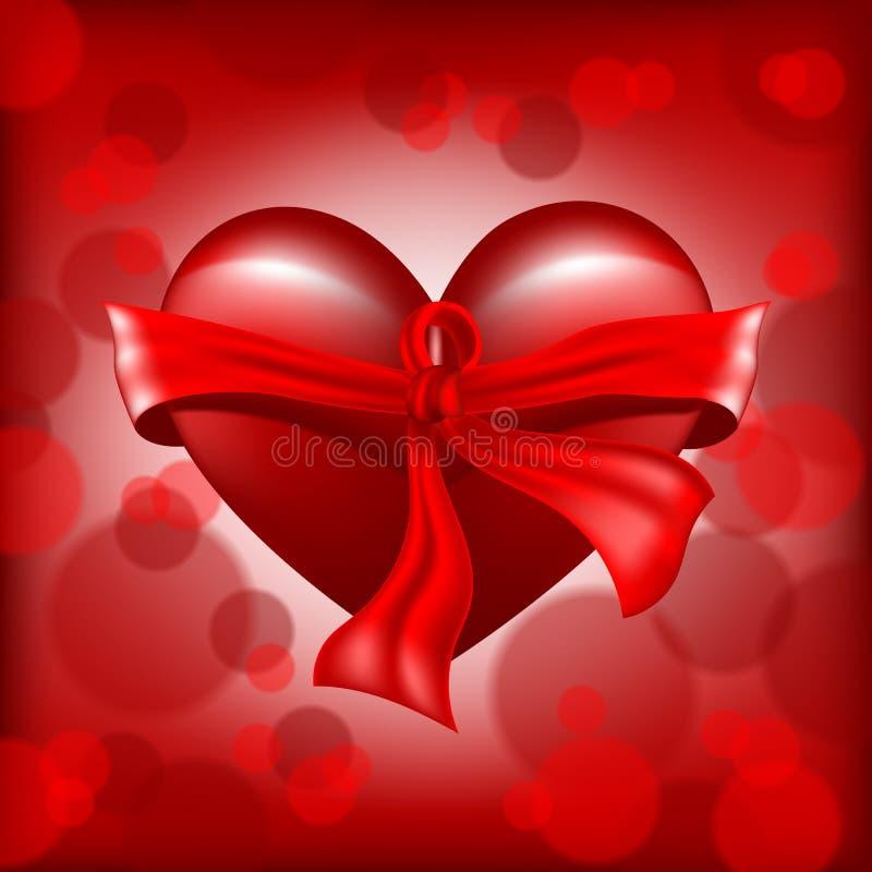 Coeur rouge réaliste de jour de valentines de vecteur de Digital illustration stock