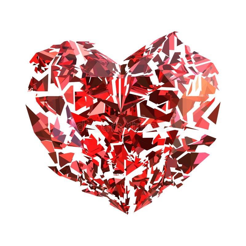 Coeur rouge rouge brisé d'isolement illustration libre de droits
