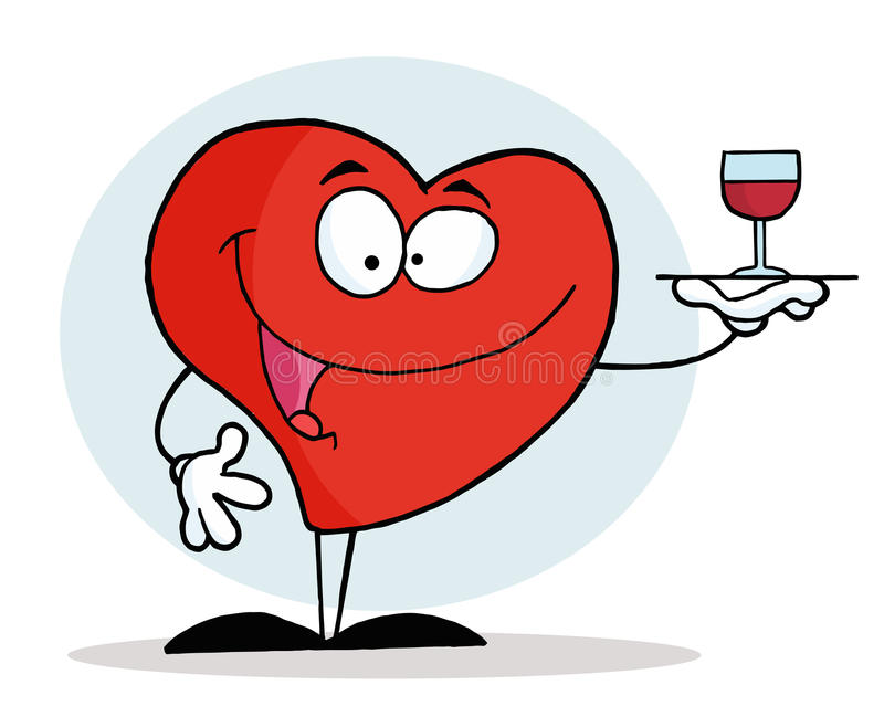 Coeur rouge servant une glace de vin rouge illustration stock