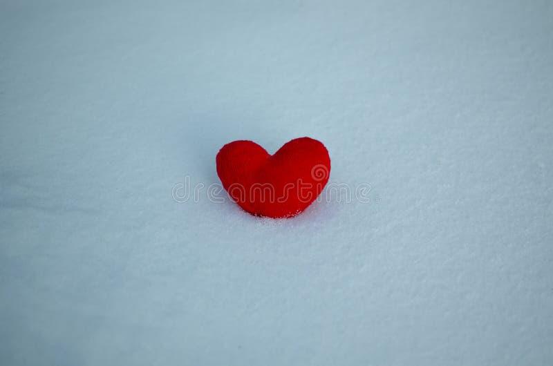 Coeur rouge sur la neige r images libres de droits
