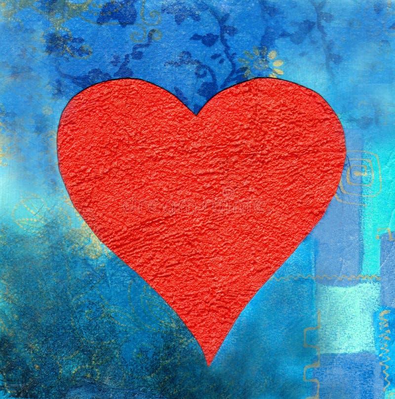 Coeur rouge sur le fond bleu illustration de vecteur