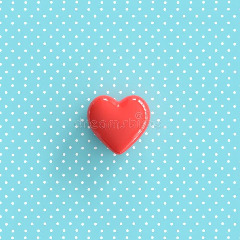 Coeur rouge sur le fond bleu de point de polka illustration stock
