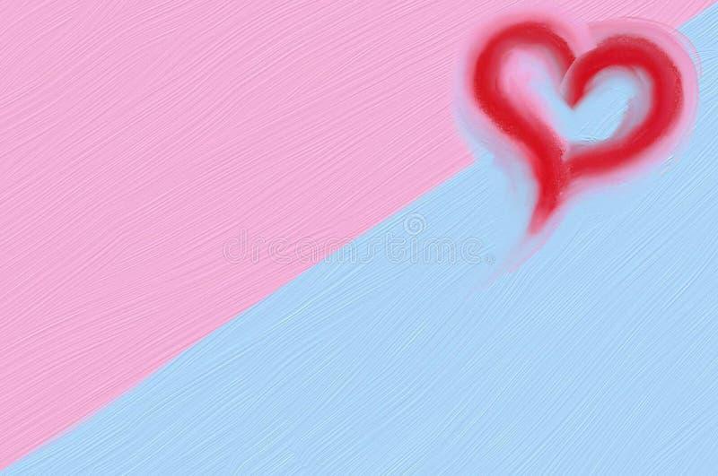 Coeur rouge sur le fond rose et bleu image libre de droits