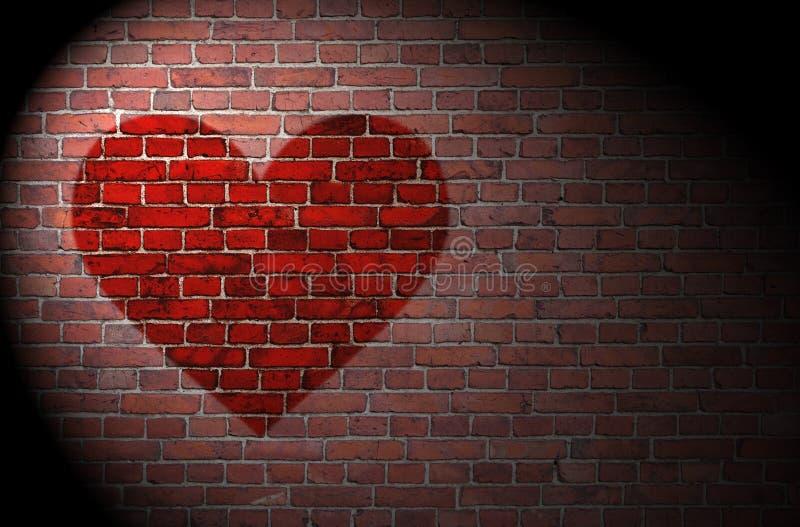 Coeur rouge sur le mur de briques illustration stock