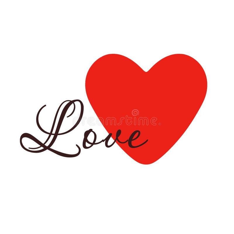 Coeur rouge sur un fond blanc illustration stock
