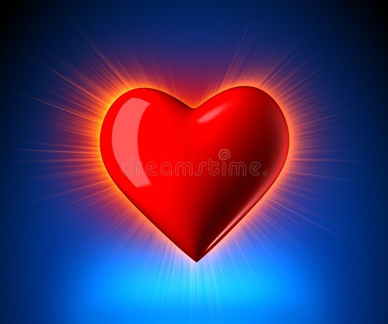 Coeur rougeoyant illustration libre de droits