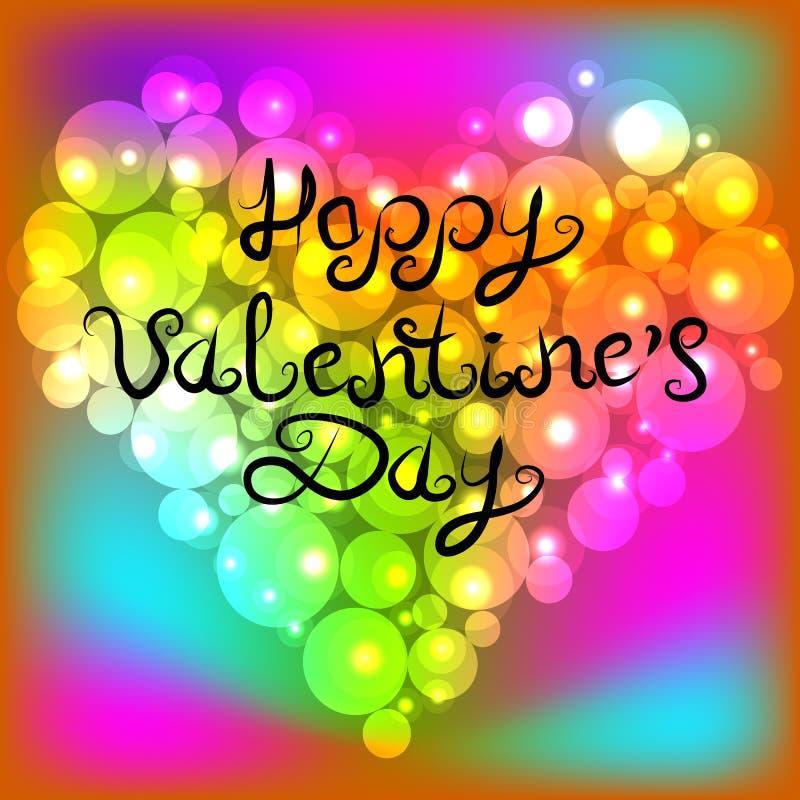 Coeur rougeoyant brillant de perle colorée Inscription du jour heureux du ` s de Valentine de lettrage Illustration de vecteur illustration stock