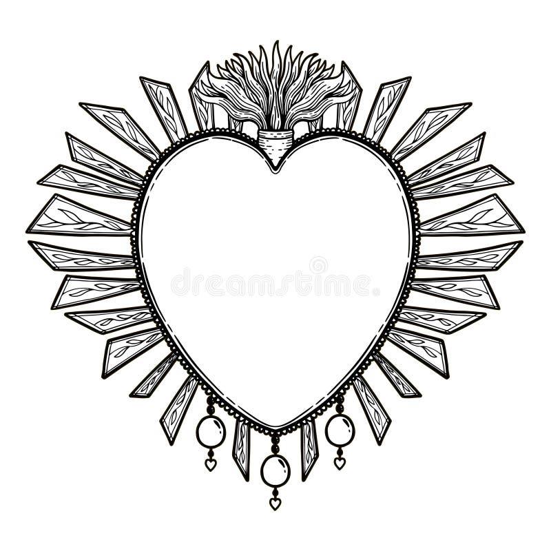 Coeur saint sacré Jésus Symbole de religion de sacrement Copie tirée par la main d'icône mystique Simbol du Mexique illustration stock