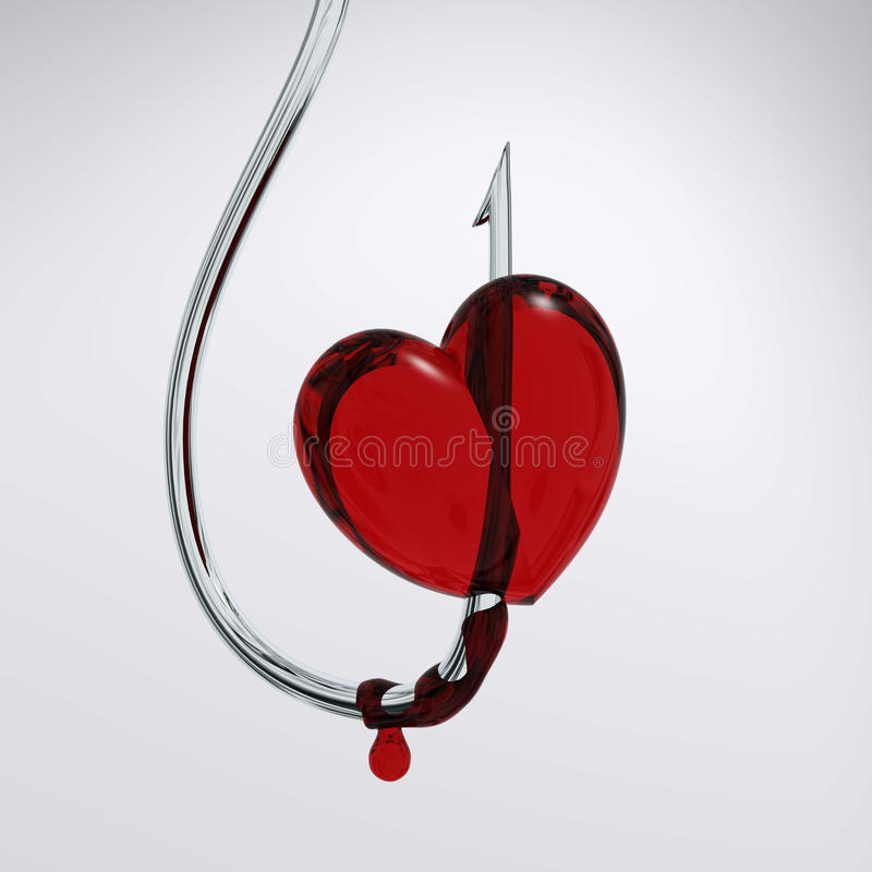 Coeur sanglant sur le crochet illustration de vecteur