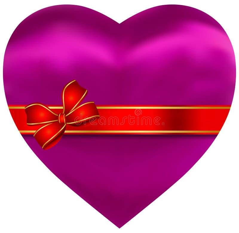 Coeur soyeux de rose de satin avec la bande rouge illustration de vecteur