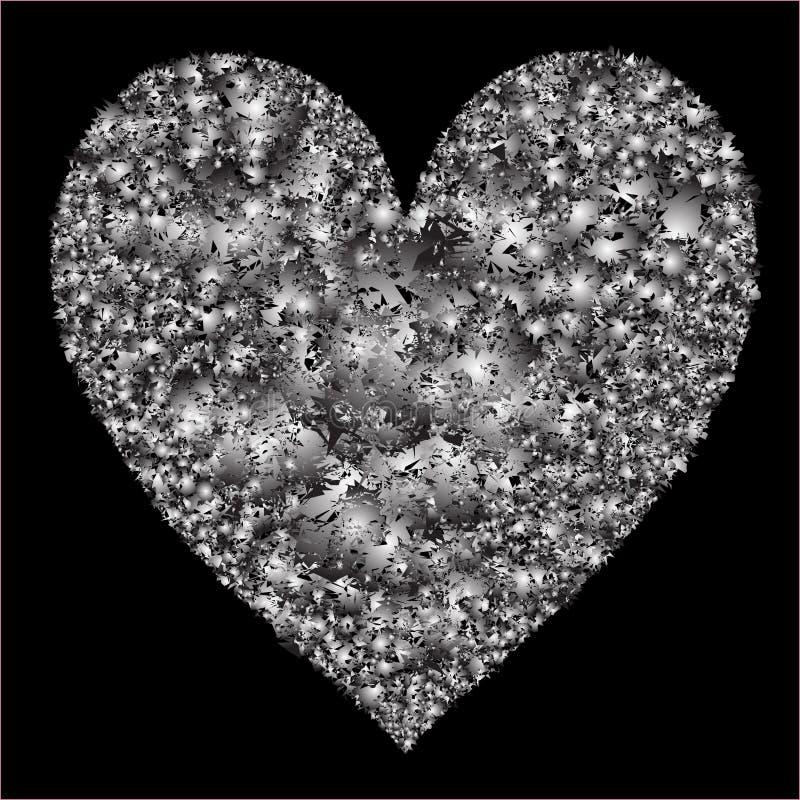 Coeur stylisé sur le fond noir illustration stock