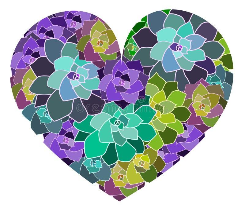 Coeur succulent de vecteur, calibre Éléments botaniques de conception illustration stock