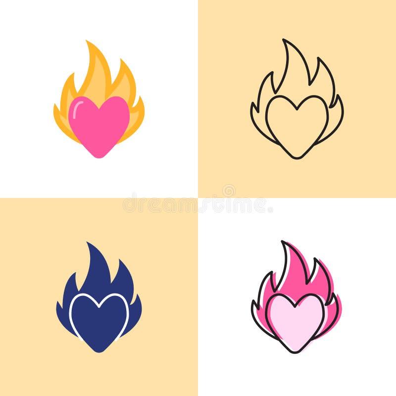 Coeur sur l'ensemble d'ic?ne du feu dans l'appartement et la ligne styles illustration de vecteur