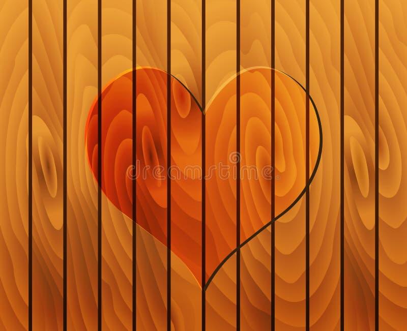 Coeur sur la texture en bois illustration stock