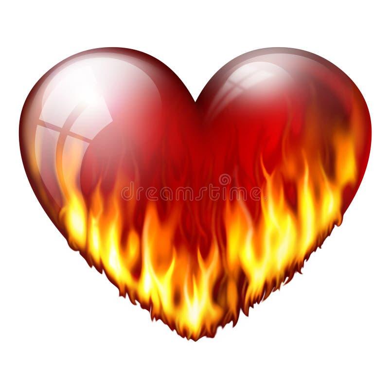 Coeur sur le feu illustration de vecteur