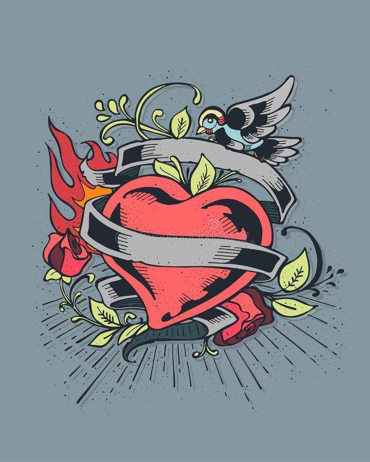 Coeur sur le feu d illustration libre de droits