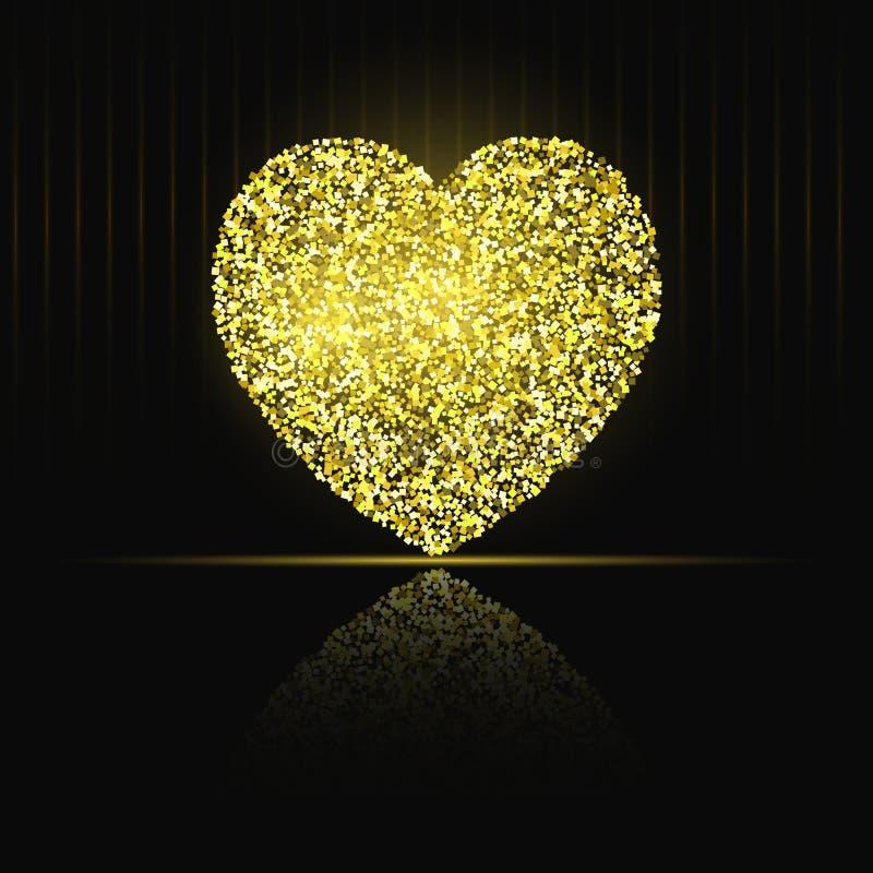 Coeur sur le scintillement noir d'or de fond illustration de vecteur