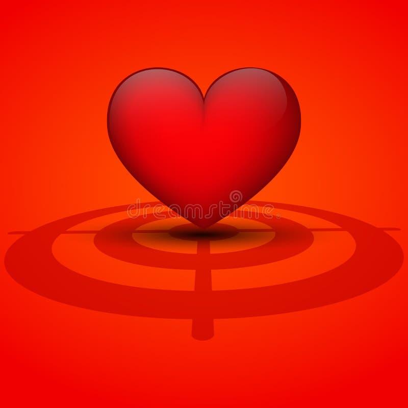 Coeur sur un fond rouge avec la cible. illustration libre de droits