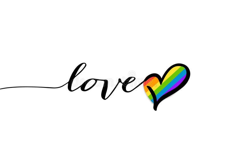 Coeur, symbole de texte d'amour, amour abstrait et coeur arc-en-ciel de vie illustration libre de droits