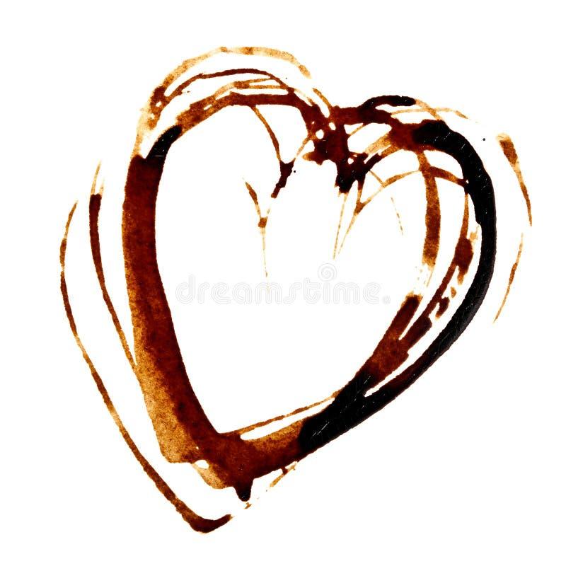Coeur - tache de café illustration libre de droits