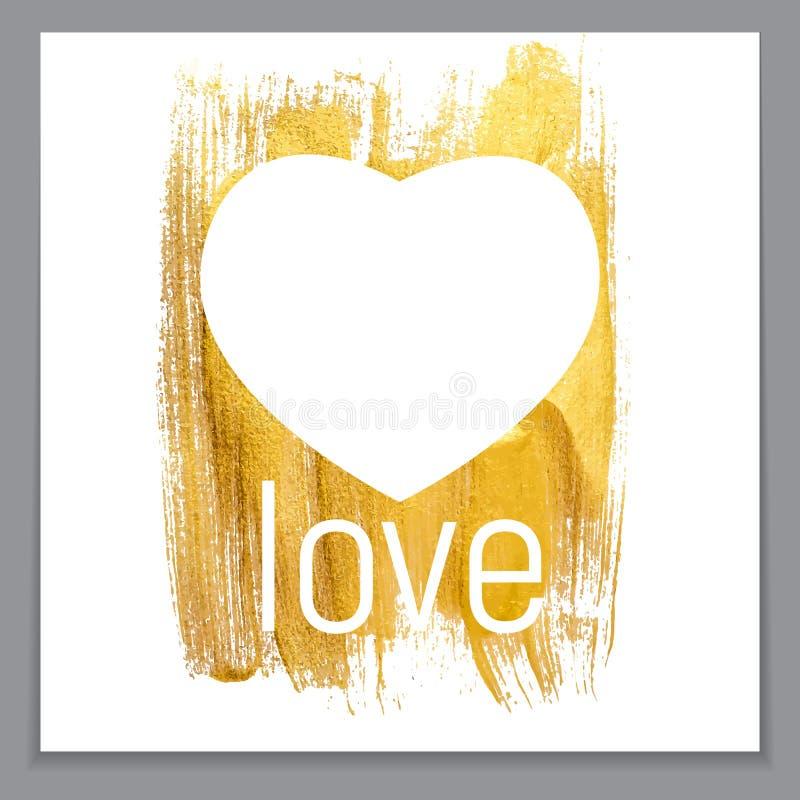 Coeur texturisé éclatant Art Illustration de peinture d'or Vecteur IL illustration stock