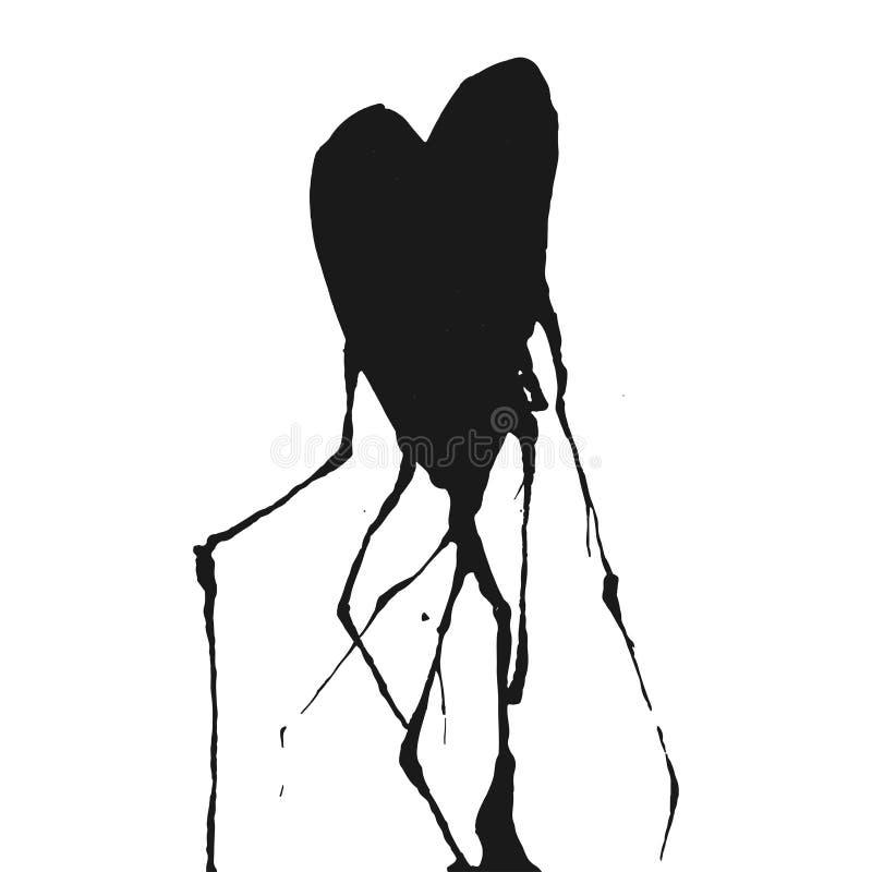 Coeur tiré par la main avec des veines baisse d'encre illustration de vecteur