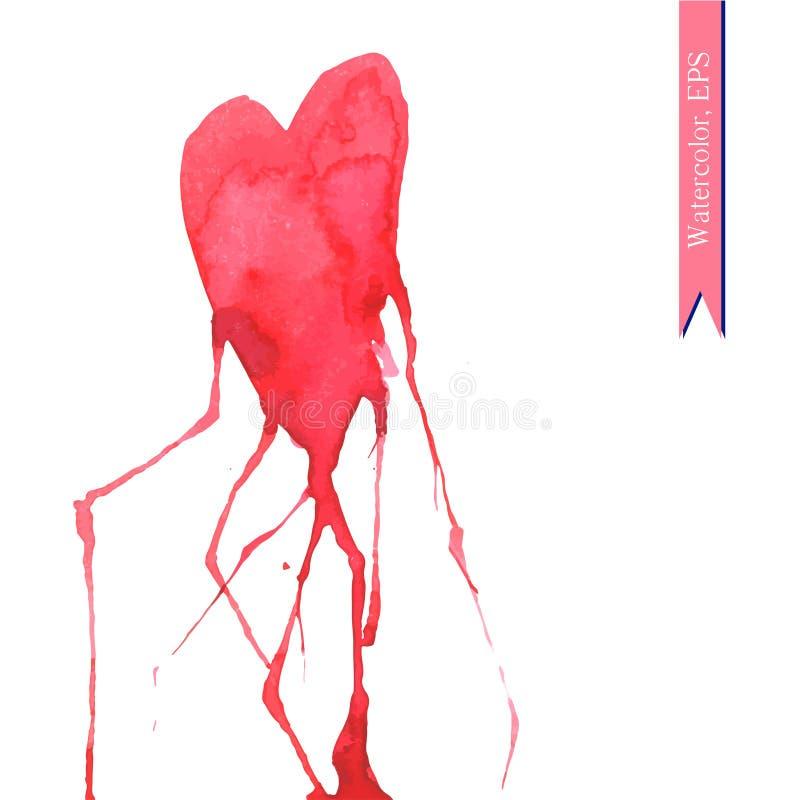 Coeur tiré par la main d'aquarelle avec des veines illustration de vecteur