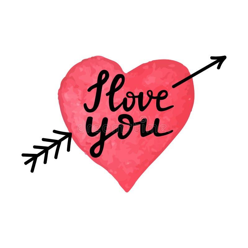 Coeur tiré par la main d'aquarelle avec la flèche et l'expression écrite par main je t'aime Carte fabriquée à la main de jour de  illustration libre de droits
