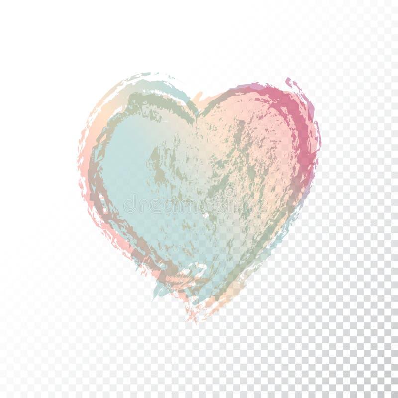 Coeur tiré par la main d'aquarelle de vecteur illustration de vecteur
