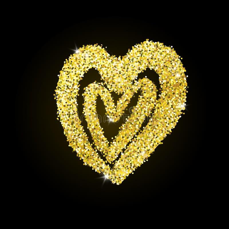 Coeur tir? par la main d'or de vecteur avec l'effet de scintillement illustration stock