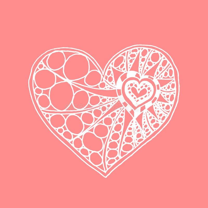 Coeur tiré par la main de griffonnage de vecteur Coeur blanc sur le fond rose illustration stock