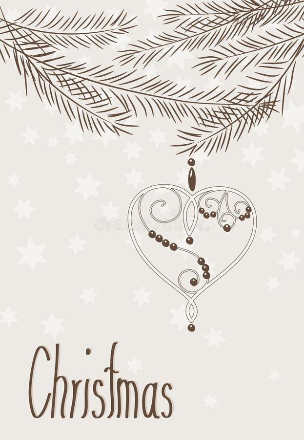 Coeur tiré par la main de Noël avec des branchements illustration stock