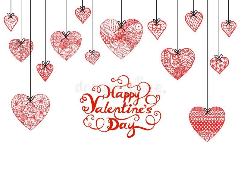 Coeur tiré par la main et jour de valentines heureux typographique pour la bannière, la carte et d'autres décorations illustration stock
