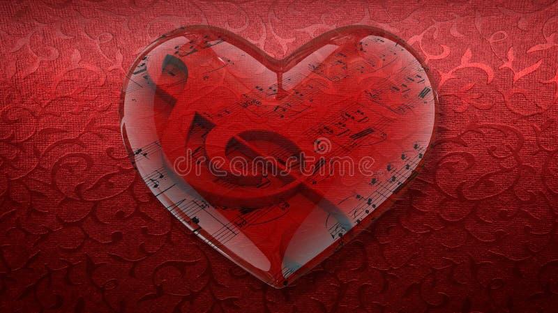 Coeur transparent avec la clef triple et la musique de feuille sur le fond rouge photo stock
