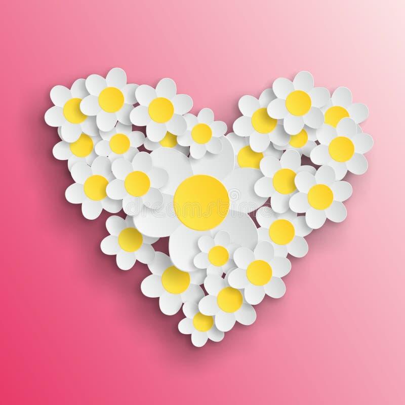 Coeur Valentine de marguerite images libres de droits