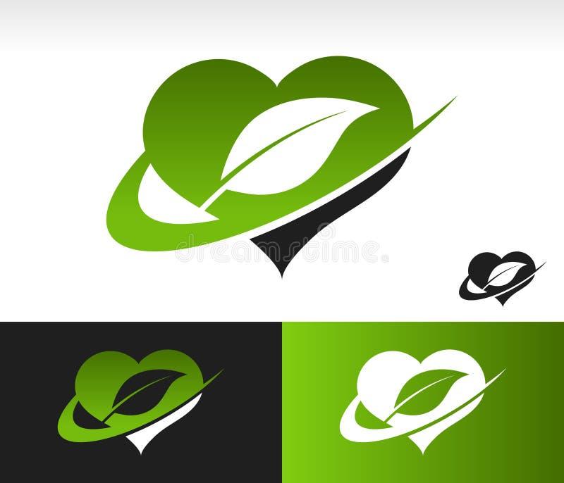 Coeur vert de bruissement avec le symbole de feuille illustration stock