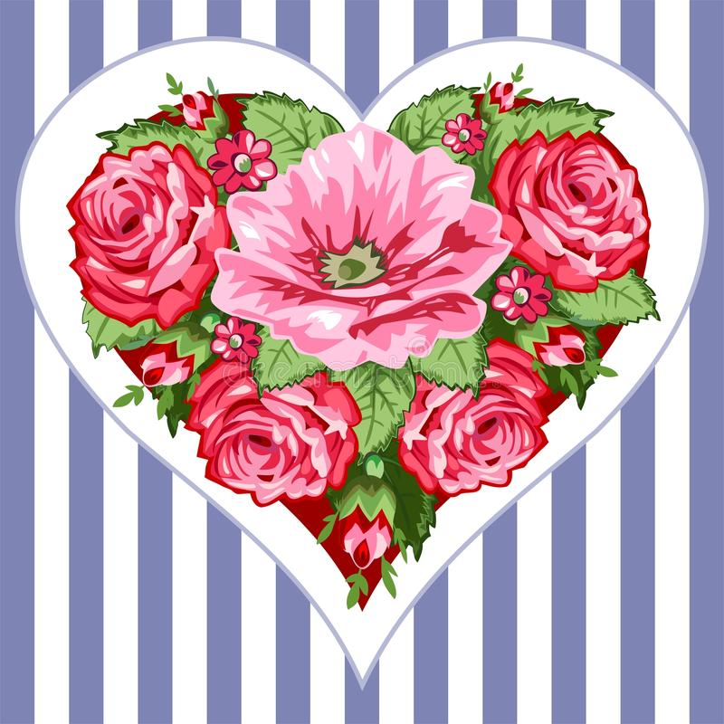 Coeur victorien de roses illustration libre de droits
