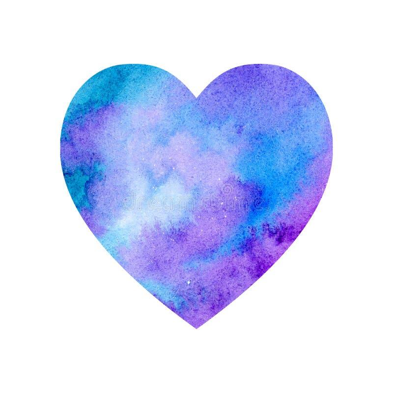 Coeur violet bleu d'aquarelle illustration stock