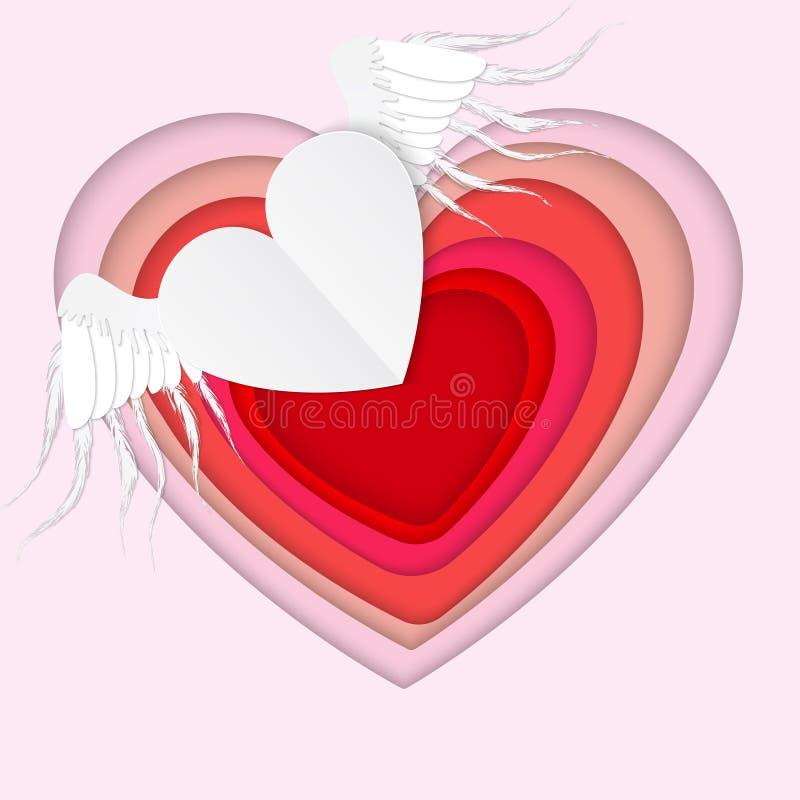 Coeur volant de livre blanc avec des ailes sur le fond rose valentin illustration libre de droits