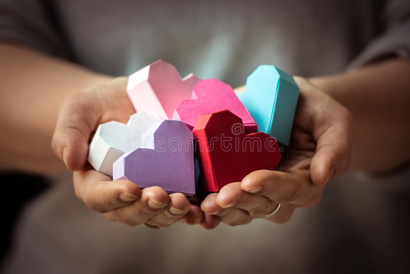 Coeurs à disposition photographie stock