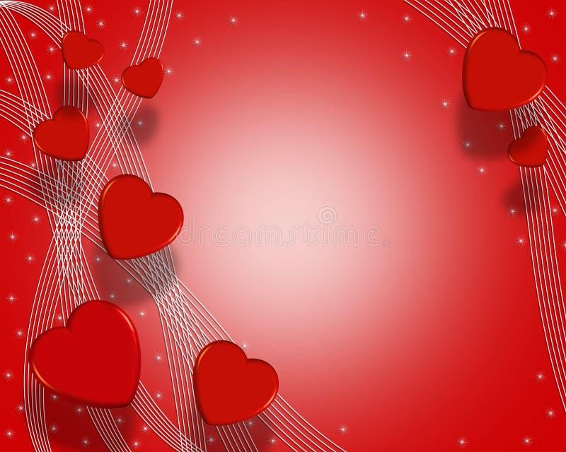 Coeurs 3D de fond de jour de Valentines illustration libre de droits