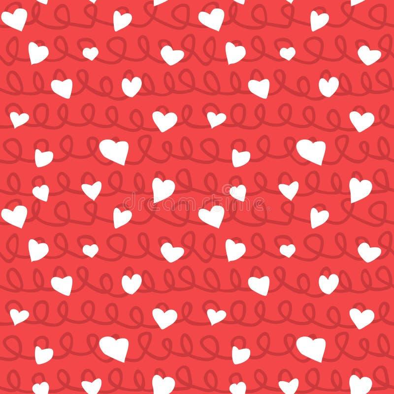Coeurs abstraits et texture sans couture de griffonnage de modèle de cordes illustration libre de droits
