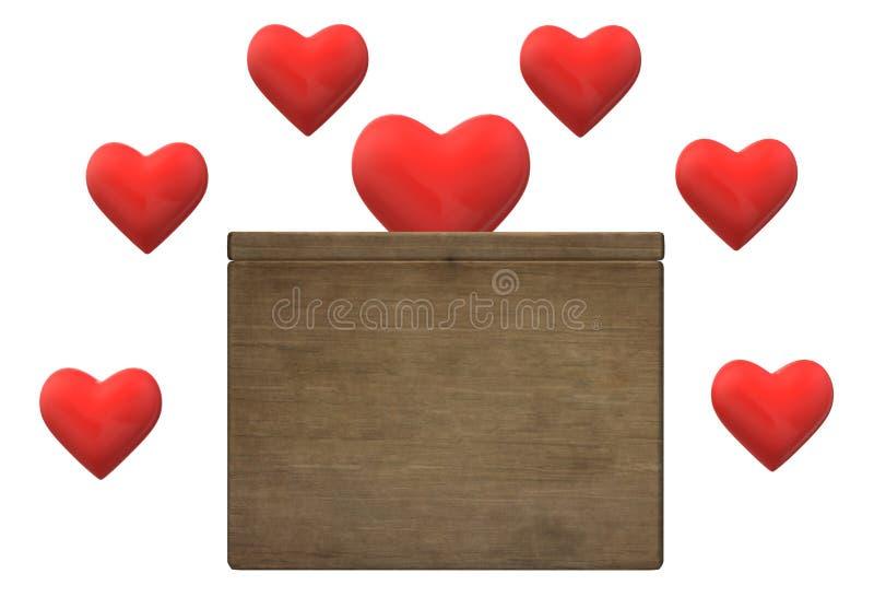 Coeurs aimants complétant dans une boîte brune de donation illustration de vecteur