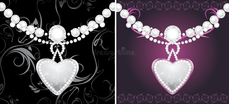 Coeurs argentés avec des diamants illustration de vecteur